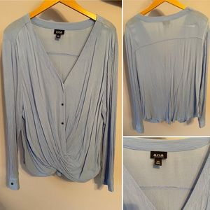 Powder blue twisted front shirt